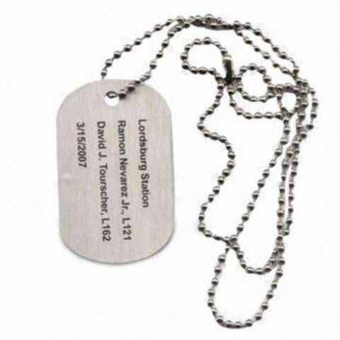 Engraving Dog Tag-Veky Badge Craft Factory is the leading supplier of Badges, Lapel Pin,Emblem, Badge holder,Name Badges, Keychain , Commemorative  Coin, Medal , Bookmark, Metal Dog Tag, Cufflink& Tie Clip,Cell Phone Charms, etc metal gifts and crafts .